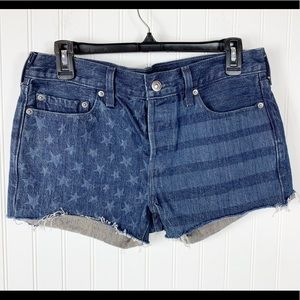 Levis Womens Jean Shorts Stars Striped Flag Sz 27